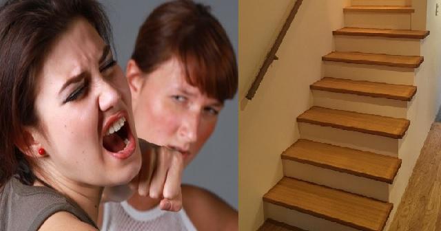 【事件!!!】階段を降りようとした時、背後にトメが来て突き落とそうと手を伸ばしていた!私「あぶなっ!」トメ「えっ!?」→私は慌てて手すりを掴んだが・・・・