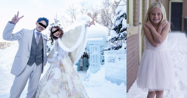 【極寒】マイナス2度の大雪の中で、ガーデンウェディングを強行した新婦。出席者は我慢出来ず室内へ…皆で震えていたら新婦が来て「寒いのは分かるけど戻って!」と鬼の様な形相で怒鳴られた。