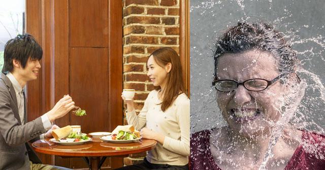 【人違い】彼氏とカフェで話していたら、突然知らない男に椅子から引きずり降ろされ、テーブルにあった水をかけられた。私「何なのよ!あんた誰?!」男「えっ?」→男は急に大人しくなり、青ざめていた。